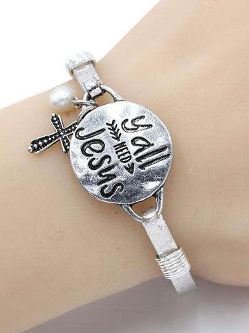 Y'all Need Jesus Burnished Silver Bangle Bracelet