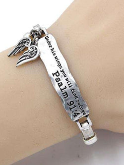 Psalm 91:4 Burnished Silver Bar Bracelet