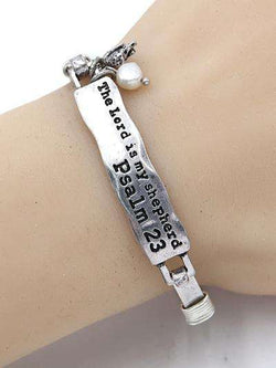 The Lord is My Shepherd Burnished Silver Bar Bracelet