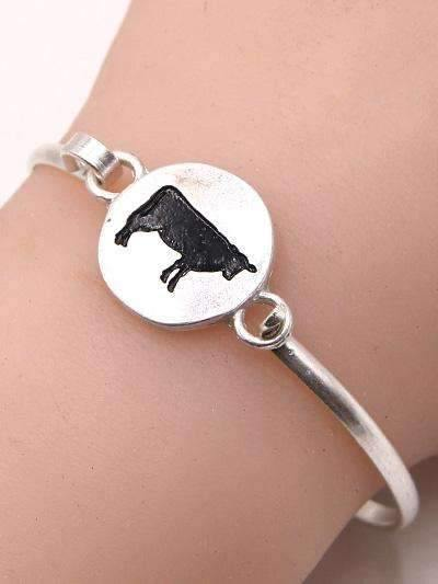 Hammered Silver Tone Cow Bracelet