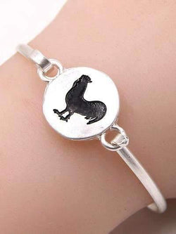 Rooster Hammered Silver Bangle Bracelet