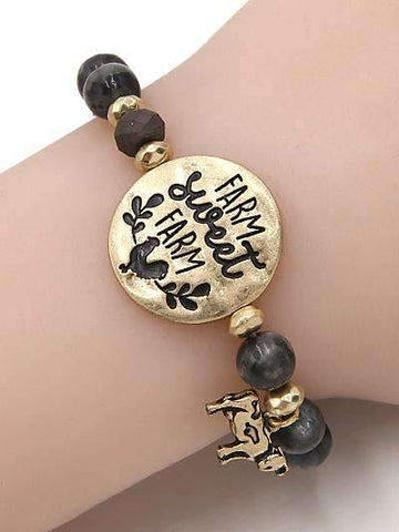 Farm Sweet Farm Burnished Gold Bracelet