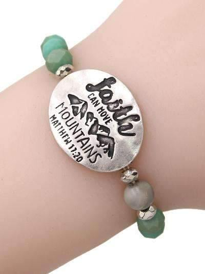 Faith Can Move Mountains Stretch Bracelet