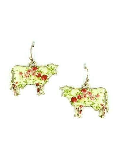 Floral Cow Earrings Gold