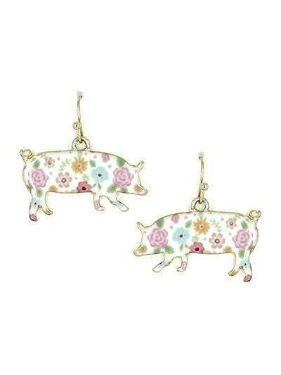 Pig Floral Earrings Gold