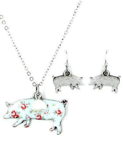 Pig Floral Necklace Set Silver