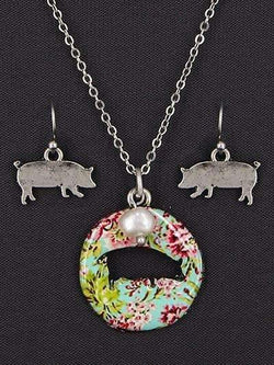 Floral Pig Cut Out Necklace Silver Tone