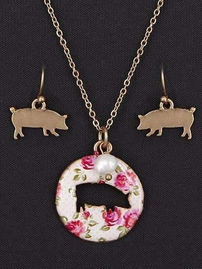 Floral Pig Cut Out Necklace Gold Tone