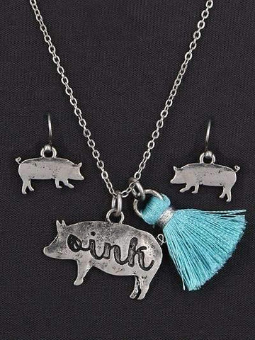 Pig Tassel Necklace Set Silver