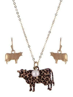 Leopard Print Steer Cow Necklace Gold