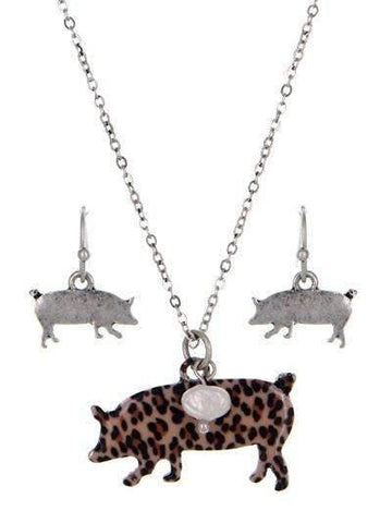 Leopard Print Pig Necklace Silver