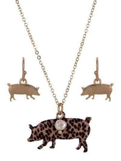 Leopard Print Pig Necklace Gold