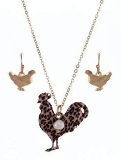 Leopard Print Chicken Rooster Necklace Set