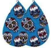 Faux Leather Earrings Sugar Skulls Turquoise,Live Show