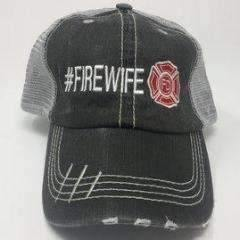 #FIREWIFE Embroidered Distressed Trucker Cap