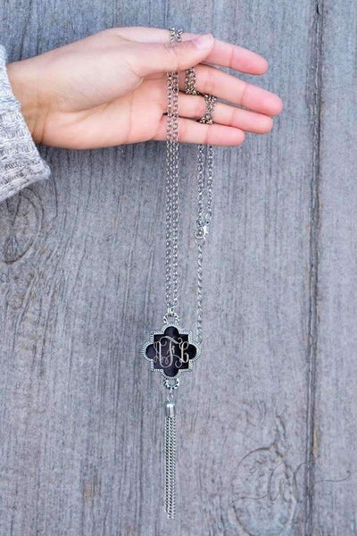 Quatrefoil Shape Engraved Long Tassel Necklace Silver