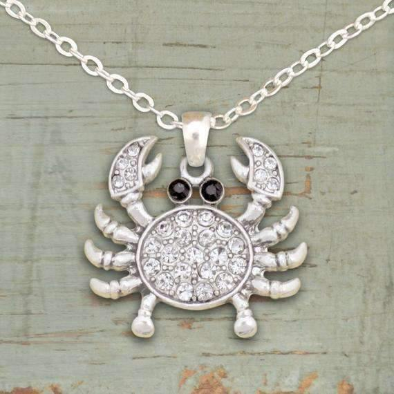 Rhinestone Crab Necklace