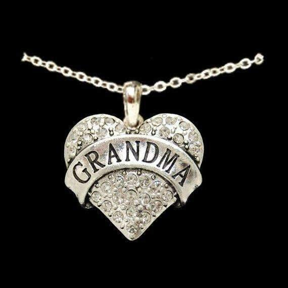 Grandma Rhinestone Heart Necklace,Necklaces