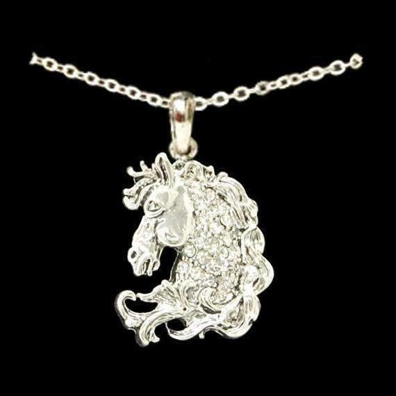 Horse Head Rhinestone Necklace