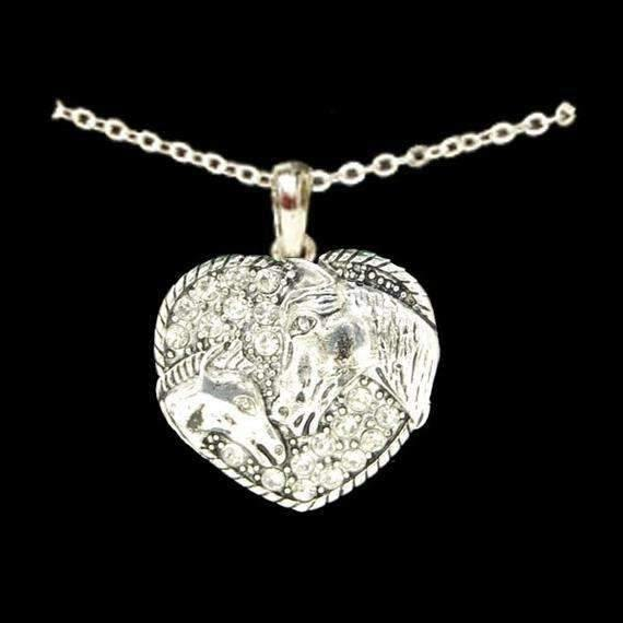Heart Necklace with Colt and Mare