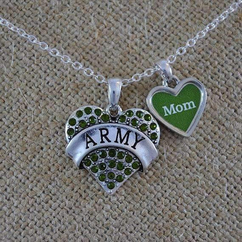 Army Mom Rhinestone Heart Necklace