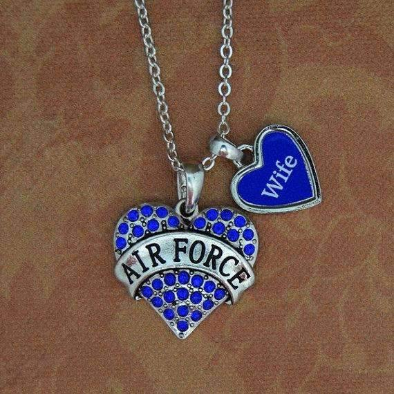 Air Force Wife Heart Necklace