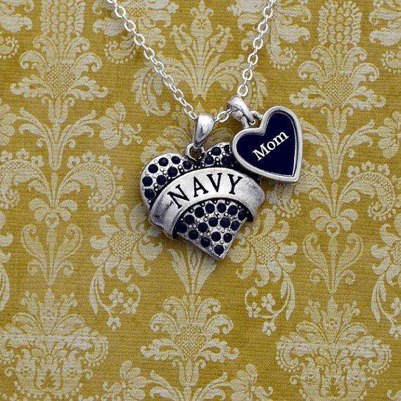 Navy Mom Heart Necklace