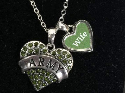 Army Wife Rhinestone Heart Necklace