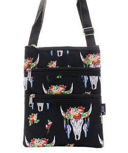 Steer Skull Print Cross Body Purse