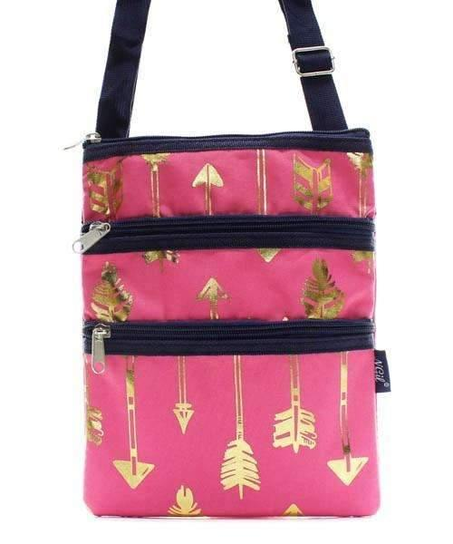 Gold Foil Arrow Print Cross Body Purse,travel bags