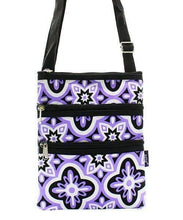 Load image into Gallery viewer, Lavender Vine Print Cross Body Purse