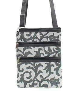 Gray and White Damask Cross Body Purse