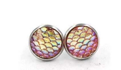 Mermaid Scales Mini Size Stud Earrings Coral,Live Show