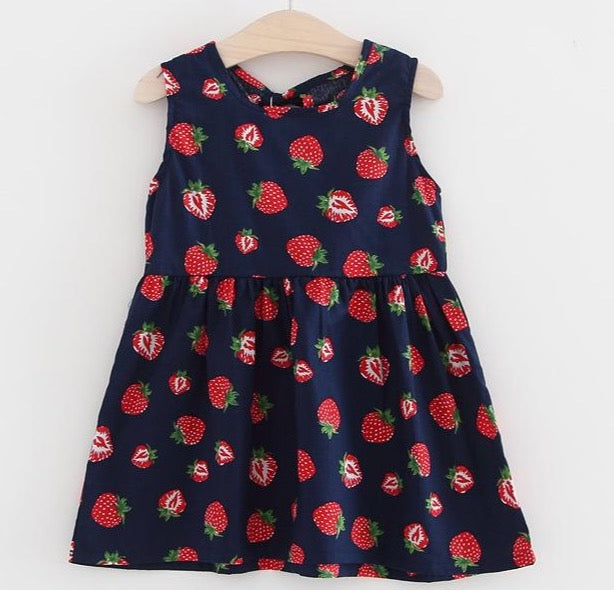 Strawberry Dress Navy Blue