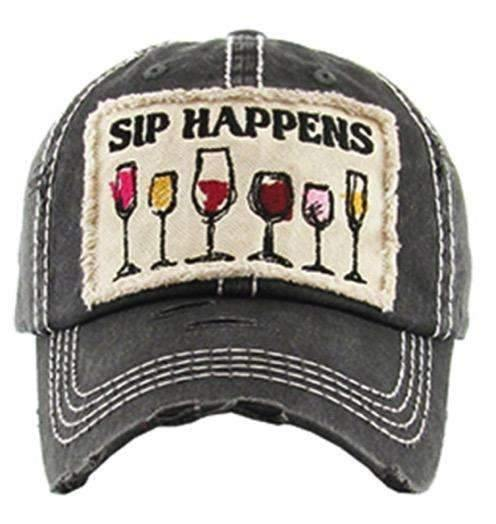 Sip Happens Wine Lover Vintage Trucker Cap