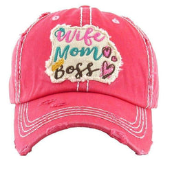 Wife Mom Boss Appliquéd Vintage Trucker Cap