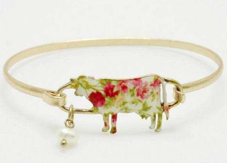 Floral Steer Cow Bangle Bracelet Gold
