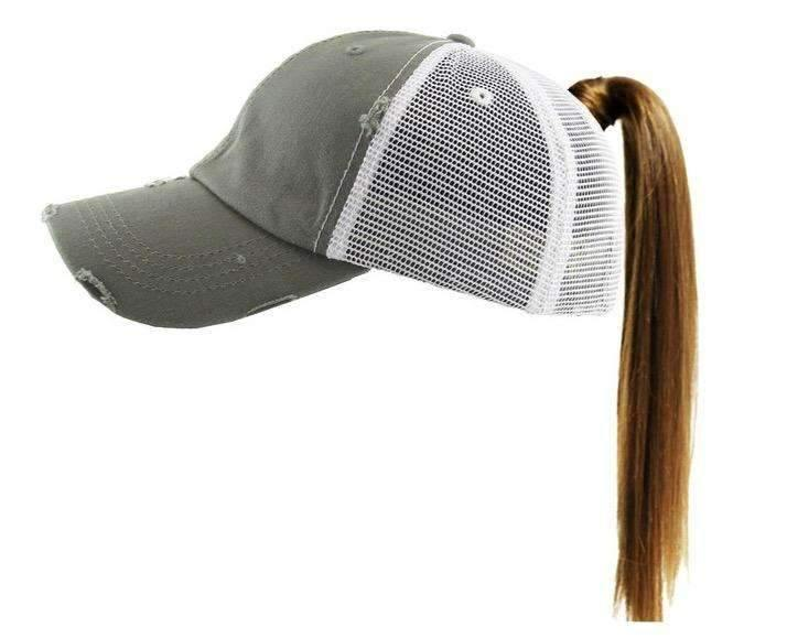 Vintage Distressed Pony Tail Trucker Style Monogrammed Cap,Preppy Caps