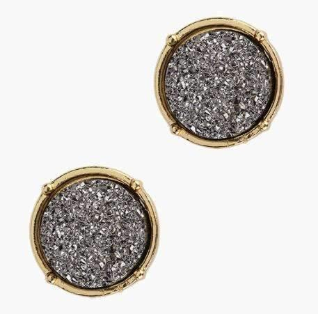 Druzy Circle Post Style Earring Hematite Center Gold Trim