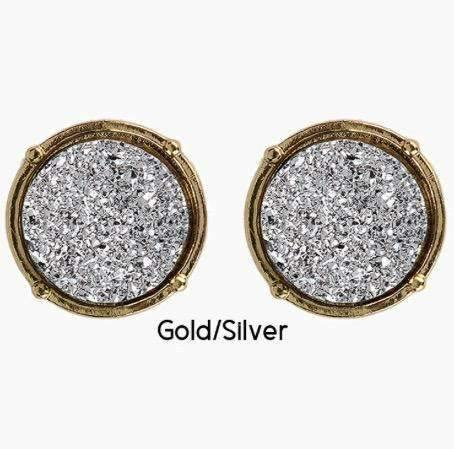 Druzy Post Style Circle Earring Light Silver Center Gold Trim