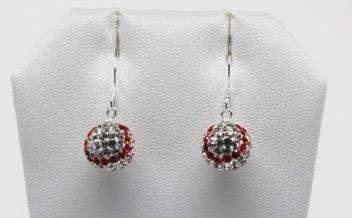 Baseball Sterling Silver 10MM Dangle Earrings