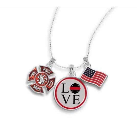 Firefighter Love Necklace with Three Charms,Necklaces