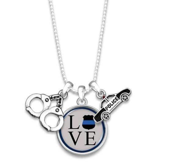 Police Love Necklace with Three Charms,Necklaces