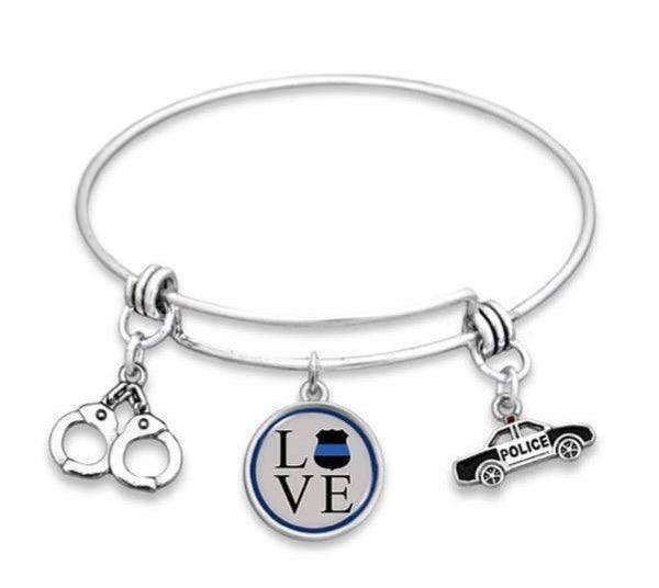 Police Love Adjustable Bangle Style Bracelet