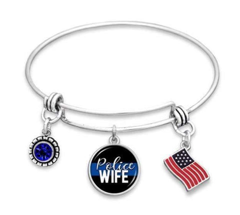 Police Wife Adjustable Charm Bracelet