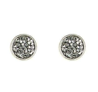 Circle Shape Silver Rhinestone Chip Posts Earrings