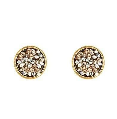 Circle Shape Gold/Silver Rhinestone Chip Post Earrings