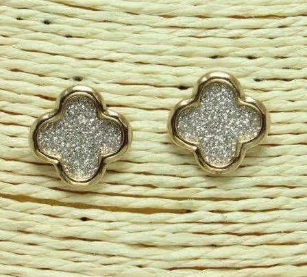 Quatrefoil Glitter Post Earrings Gold/Silver