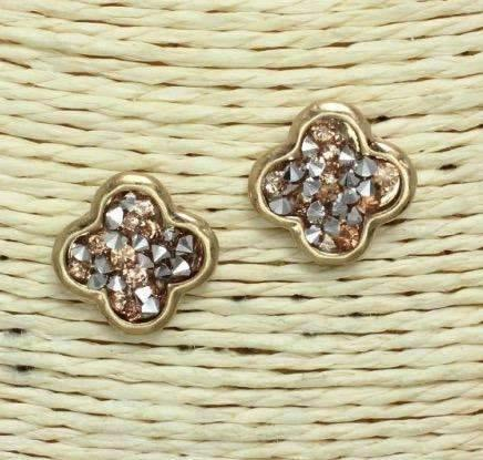 Quatrefoil Shape Post Earrings Gold with Rhinestone Chips