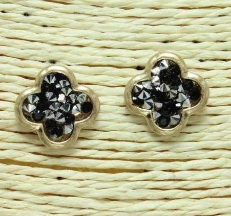 Quatrefoil Shape Post Earrings Gold with Black/Silver